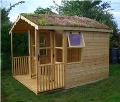Idea for a playhouse for the boys, want to add a downspout for rain, and LOVE the living rooftop :)