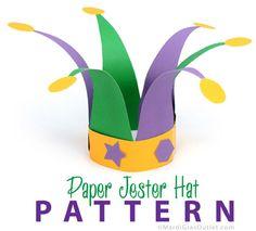 Бумага Jester Hat Выкройка: Mardi Gras ремесел для детей