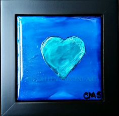 In Love With Blue $35 This beautifully painted 4.5x4.5  inch tile is mounted in a black frame, resulting in a final size of 6x6 inches.   The painting is sealed with a light coat of varnish for protection and is ready to hang. Sargent Art, Tile, Canvas, Coat, Frame, Painting, Black, Tela, Picture Frame