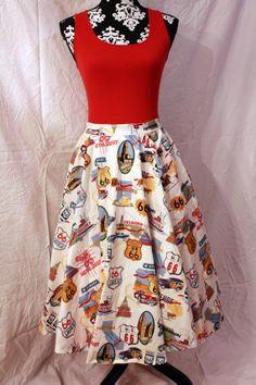 Route 66 print skirt