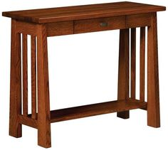 Amish Freemont Mission Open Hall Table Gorgeous wood accent table to add to your decor. Top with flowers and a lamp to illuminate hallway or foyer!
