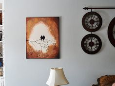 Birds on a Branch Silhouette Painting