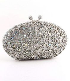 This jeweled clutch evening bag has a beautiful filigree design on the front and back. It is lined with white lining and can be worn both as a clutch or a shoulder strap bag.European Crystal ElementsSize: x Silver Beaded Purses, Beaded Bags, Embellished Purses, Silver Clutch, Leather Clutch, Vintage Purses, Vintage Handbags, Vintage Hats, Wedding Purse