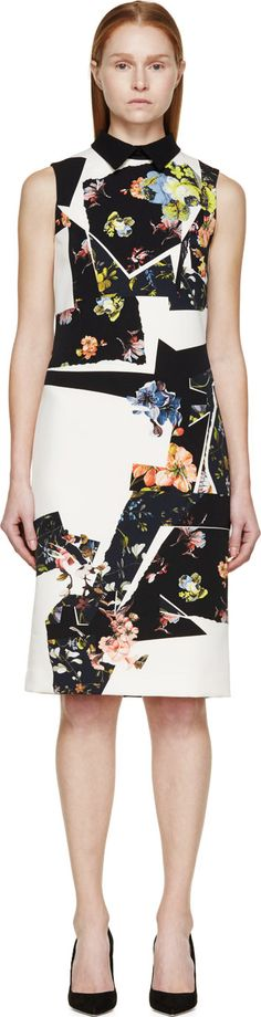 Erdem: Navy & Chartreuse Botanical Shard Brennon Shift Dress | SSENSE