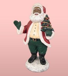 African American Christmas Santa Holding Tree Figurine -- Read more reviews of the product by visiting the link on the image.
