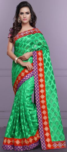 Buy Now : Rs. 2,150 /- http://www.indianweddingsaree.com/product/180579.html Green color family Embroidered #Sarees, Party Wear #Saree with matching unstitched blouse.