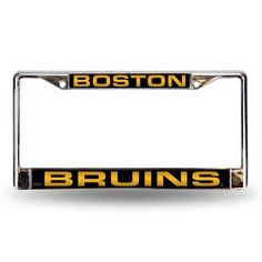 Boston Bruins Laser Etched Chrome License Plate Frame, Silver