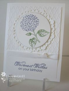 Stamps - Best of Flowers, Blooming with Kindness Ink - Wisteria Wonder, markers - Wisteria and Wild Wasabi Card stock - Whisper White! Accessories - Fancy Fan embossing folder, Delicate Doilies Sizzlits, Big Shot, White taffeta ribbon, dimensionals, 2 1/2 circle punch