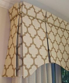 Custom topper with Moroccan tile pattern and gold trim with scalloped box pleat Valence Curtains, Box Pleat Valance, Bay Window Curtains, Valance Window Treatments, Window Treatments Living Room, Custom Window Treatments, Living Room Windows, Window Coverings, Valances