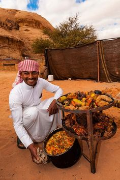 Captain's Desert Camp offers a unique experience in traditional Bedouin tents with clear views of the Wadi Rum landscape. Petra, Jordanian Food, Fun Deserts, Amazing Deserts, Jordan Country, Bedouin Tent, Dream Recipe, Lawrence Of Arabia, Arabian Art