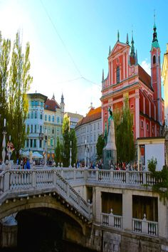 Preseren Square in Ljubljana Slovenia.  Best place for people watching.