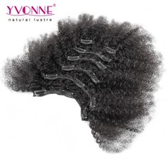 YVONNE Afro Kinky Clip in Extensions Natural Hair,100% Brazilian Virgin Hair Clip in Human Hair Extensions,7Pcs/set,Color 1B *** Click the image to find out more