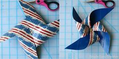 4th of July Table Decorations - Hoosier Homemade Paper Flower Centerpieces, Paper Flowers, How To Make Pinwheels, 4th Of July, Joy, Homemade, Table Decorations, Color, Home Decor