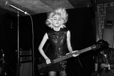 Julia Cumming performing in Sunflower Bean at Saint Laurent's 2015 pre-Grammy party at Good Times at Davey Wavey's on El Centro, LA, 2/6/15; photo by Hedi Slimane, courtesy V Magazine