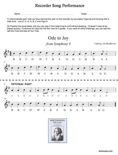 how to play ode to joy on the recorder