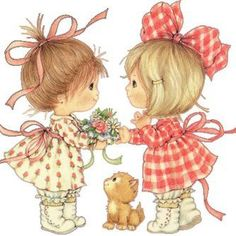 Ruth Morehead - So Glad You're My Friend Images Victoriennes, Cute Images, Cute Pictures, Vintage Cards, Vintage Postcards, Art Mignon, Image Digital, Holly Hobbie, Decoupage Paper