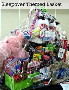Sleepover Raffle Basket School Auction Baskets Silent Theme Fundraiser