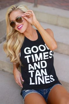'Good Times And Tan Lines' Sleeveless Top - Black from Closet Candy Boutique #fashion #ootd #spring