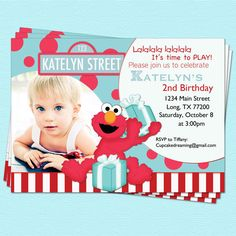 Elmo Birthday Invitations Sesame Street Inspired Red Turquoise Photo Printable Party 1400 Via Etsy