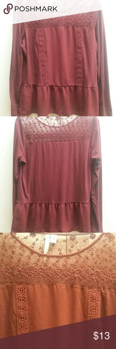 LC Lauren Conran Maroon Lace Peplum Blouse - Med. Beautiful Rich maroon color LC Lauren Conrad peplum style blouse with lace detail across chest and upper back and Lace detail down the front. Maroon color is deeper in person than in photos . Size medium in very good condition.. the arms and side are made of soft cotton and the lace and peplum ruffle polyester. LC Lauren Conrad Tops Blouses