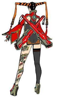 Rin Rin Back Art - Anarchy Reigns Art Gallery Female Character Design, Character Design Inspiration, Character Art, Character Sheet, Superhero Characters, Girls Characters, Female Characters, Fantasy Concept Art, Back Art