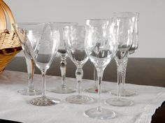 Mismatched Etched Crystal Wine Glasses Set by LittleDixieVintage