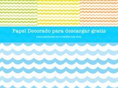 Free printable paper. Papel decorado para imprimir gratis. Verano http://manualidades.euroresidentes.com/2014/06/papel-decorado-con-dibujos-de-olas.html