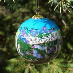 Nantucket Hydrangea Fence Ornament   The Hub of Nantucket Christmas Decor Coastal Christmas, Christmas Decor