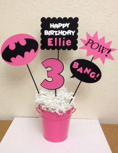 Super Hero Batman/Batgirl Birthday Centerpiece by TheGirlNXTdoor