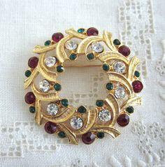 EISENBERG Ice WREATH Brooch Pin CHRISTMAS Holiday by jewelryannie, $14.99