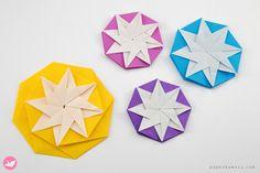 Origami Compass Star Tato Variation Tutorial via @paper_kawaii Origami Instructions, Origami Tutorial, Origami Gifts, Oragami, Christmas Star, Xmas Decorations, Compass, Free Printables, Paper Crafts