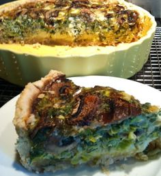 Mushroom Leek Quiche with Homemade Crust - you can use any veggies you like, recipe so versatile...  #glutenfree #dairyfree #soyfree