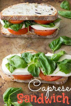 Healthy, light, easy caprese sandwich recipe. Made with fresh basil, tomato, mozzarella cheese, bread, and pesto. Perfect Italian-inspired lunch!