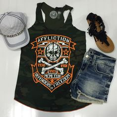 Fresh graphics from Affliction and frayed hems make for cool and confident vibes.
