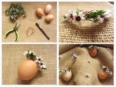 Easter eggs with floral crown