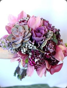 Lavender, gray, plum bridal bouquet with kale and succulents - this reminded me of you too.  We could do something like this too, if you like the kale and succulents.  For your bridesmaids?  Add in more dark purple for you?