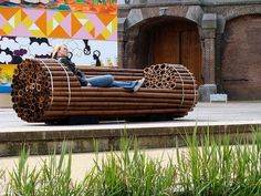 Five Fantastic Ideas for Public Furniture in Cities recycled bamboo bench..
