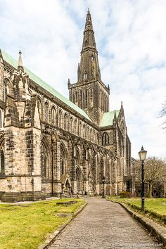This beautiful view of Glasgow Cathedral in Scotland shows off the church's stunning architecture. Scotland Kilt, Glasgow Scotland, England And Scotland, Glasgow Cathedral, Scotland Road Trip, Scotland Travel, Cool Places To Visit, Places To Travel, Places