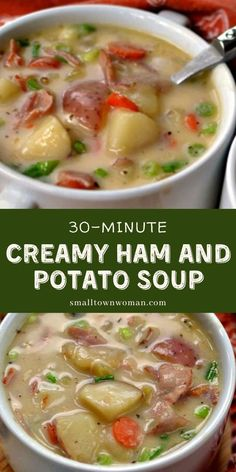 Creamy Ham and Soup recipe is a quick and easy recipe for the family! It's loaded with ham, potatoes, onions, carrots, and celery in a creamy lightly seasoned broth. Plus, it comes together in just 30 minutes. Save this comfort food for dinner! Recipe For Canned Ham, Recipes With Cooked Ham, Leftover Ham Recipes, Recipe For Ham Soup, Recipes With Ham In Them, Recipes Using Ham Broth, Recipes With Celery, Easy Soup Recipes, Healthy Crockpot Recipes