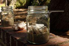 Mason Jars with candles & Seashells