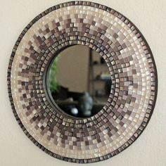 Mother of Pearl and Earth tone Mosaic Mirror by WeldenDesigns