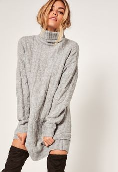 Grey Brushed Cable Turtle Neck Mini Dress