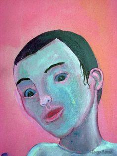 Amor de madre 3, acrylic on canvas, 43 x 63 cm. , 2008. Pintura en la venta de la serie Pop Surrealista del artista Diego Manuel