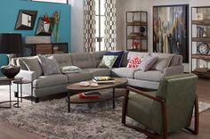 I.O. Metro | Bree Corner Sectional | iometro.com/bree-rhf-corner-sectional | #modern #interior #design #sectional #bookshelf #styling #leather #gray #chair #home #decor #inspireon