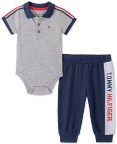 A mix of classic colorblocking and logos add sporty-cool style to this comfy Tommy Hilfiger set featuring a collared bodysuit and French terry pants. Tommy Hilfiger Baby, Tommy Hilfiger Pants, Baby Jordan Shoes, Baby Boy Outfits, Kids Outfits, Baby Boy Pictures, Grey Bodysuit, Baby Boys, Carters Baby