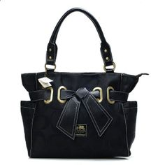 Coach Poppy Bowknot Signature Medium Black Totes ANB Are Fashionable Enough To Show Your Fashionable Style. Be Different.You Are A Special From Now! #COACHFACTORY #WhatsInYourBorough