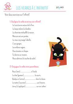 Voici une feuilles de deux exercices à imprimer pour travailler la conjugaison de l'infinitif des verbes. Suivez les consignes et à vos crayons. Read Aloud, Crayons, Voici, Math, Reading, School, Conversation, Ideas, Study