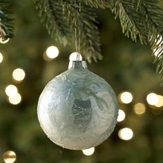 Pier 1: Icy Blue Glass Ball Ornament