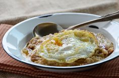 Savory Oatmeal with bacon, onion, cheese, and egg. Just made this today for breakfast and we both loved it! This is a great recipe and really filling-fun for a change.