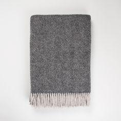 New in! Soft Charcoal Wool Blanket. British made herringbone charcoal grey blanket. 100% pure new wool.